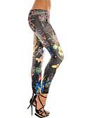 billige Leggings-Dame Sports Legging - Trykt mønster, Farveblok Lav Talje