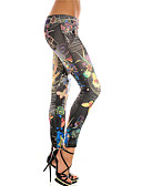 baratos Leggings para Mulheres-Mulheres Esportivo Legging - Estampa Colorida, Estampado Cintura Baixa