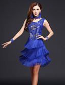 preiswerte Kleidung für Lateinamerikanischen Tanz-Latein-Tanz Kleider Damen Leistung Chinlon / Milchfieber Quaste Ärmellos Hoch Kleid / Neckwear / Latintanz