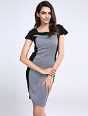 olcso Női ruhák-Női Munka Bodycon Ruha Színes Térdig érő Szögletes