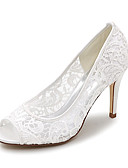 cheap Wedding Dresses-Women's Shoes Lace Spring / Summer Basic Pump Wedding Shoes Stiletto Heel Peep Toe Black / Pink / Ivory / Party & Evening