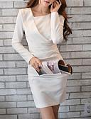 cheap Women's Pants & Leggings-DABUWAWA® Women's Round Neck Long Sleeve Asymmetrical Split Dress