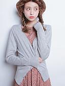 رخيصةأون ملابس علوية للنساء-قطن سادة سترة من الصوف رقبة V ذهاب للخارج للمرأة