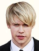halpa Naisten yöasut-Synteettiset peruukit Kihara Otsatukalla Synteettiset hiukset Vaaleahiuksisuus Peruukki Miesten / Naisten Lyhyt Suojuksettomat