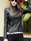 cheap Women's Leather Jackets-Street chic Fall Leather Jackets,Solid Stand Long Sleeve Black / Gray PU Medium