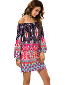 cheap Maxi Dresses-Women's Plus Size Beach Boho Shift Dress - Tribal Crane, Print Mini Off Shoulder