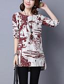 voordelige Damesblouses-Dames Split Print Overhemd Katoen