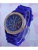 voordelige Dress horloge-Geneva Heren Kwarts Polshorloge / Hot Sale Roos verguld Silicone Band Informeel Zwart Wit Blauw Rood Groen Paars Geel