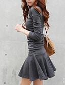 זול שמלות נשים-גיזרה נמוכה צווארון עגול שרוול ארוך אחיד,שמלה מיני סקייטר\מחליקה על הקרח סגנון רחוב יומי סוף שבוע בגדי ריקוד נשים