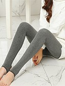 cheap Leggings-Women's Fleece Lined Legging Solid Colored Mid Waist