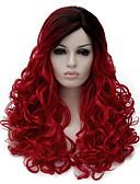 رخيصةأون ملابس سباحة رجالي-الاصطناعية الباروكات مموج شعر مستعار صناعي جذور داكنة / الجزء الجانبي أحمر شعر مستعار للمرأة متوسط دون غطاء أسود-أحمر