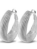 cheap Women's Denim Jackets-Women's Sterling Silver Hoop Earrings - Sexy / Statement / Fashion Silver Circle Earrings For Wedding / Party / Daily