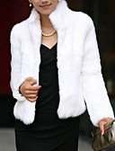 cheap Women's Fur & Faux Fur Coats-Women's Winter Short Fur Coat, Solid Colored Stand Long Sleeve Faux Fur Formal Style White / Black 4XL / XXXXXL / XXXXXXL