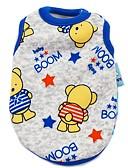 hesapli Kadın Üst Giyim-Kedi Köpek Tişört Köpek Giyimi Karton İnci Pembesi Kırmzı Mavi Pembe Mavi-Sarı Pamuk Kostüm Evcil hayvanlar için Erkek Kadın's Sevimli