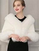 cheap Women's Dresses-Women's Going out Vintage Winter Short Fur Coat, Solid Colored Shawl Lapel Sleeveless White / Black One-Size / Batwing Sleeve