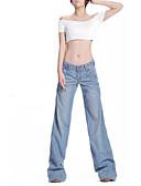 baratos Saias Femininas-Mulheres Tamanhos Grandes Algodão Solto Bootcut / Jeans Calças - Sólido