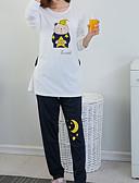 preiswerte Bademäntel & Nachtwäsche-Damen Rundhalsausschnitt Anzüge Pyjamas - Druck, Solide