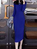 cheap Sweater Dresses-Women's Work Basic Slim Sheath Dress - Solid Colored Spring Black Blue L XL XXL