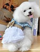 billige T-skjorter til damer-Hund Kjoler Hundeklær Sløyfeknute Blå Bomull Kostume For kjæledyr Herre Dame Ferie Mote