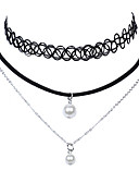 cheap Historical & Vintage Costumes-Women's Pearl Double Choker Necklace Pendant Necklace Chain Necklace Pearl Lace Ladies Religious Jewelry Tattoo Style Vintage Black Necklace Jewelry For Wedding Party Daily Casual Sports