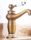 preiswerte Herrenhemden-Waschbecken Wasserhahn - Vorspülung / Wasserfall / Verbreitete Antikes Kupfer Mittellage Einzigen Handgriff Zwei Löcher