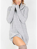 cheap Women's Sweaters-Women's Holiday Street chic Long Sleeves Loose Long Pullover - Solid Colored Turtleneck