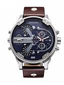 levne Vojenské hodinky-CAGARNY Pánské Vojenské hodinky Náramkové hodinky japonština Křemenný Kůže Černá / Hnědá 30 m Voděodolné Kalendář Analogové Luxus Módní - Černá Hnědá