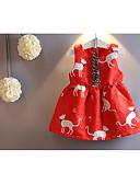baratos Roupas de Meninas-Menina de Vestido Diário Outono Algodão Sem Manga Desenho Vermelho Azul