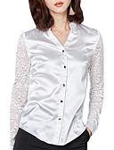 hesapli Bluz-Kadın's V Yaka Bluz Dantel, Solid Kırk Yama Sokak Şıklığı Dışarı Çıkma