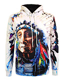 cheap Men's Shirts-Men's Boho Long Sleeve Hoodie - 3D / Portrait, Print Round Neck