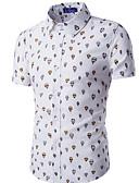 billige Herreskjorter-Bomull Klassisk krage Skjorte Herre Trykt mønster