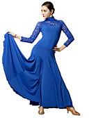 저렴한 볼룸 댄스 웨어-볼륨 댄스 드레스 여성용 성능 레이스 / 비스코스 레이스 긴 소매 드레스 / 모던댄스