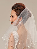cheap Wedding Veils-Two-tier Pearl Trim Edge Wedding Veil Fingertip Veils 53 Pearl Tulle