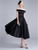 cheap Cocktail Dresses-A-Line Off Shoulder Tea Length Polyester / Satin Chiffon Vintage Inspired Cocktail Party / Prom Dress with Bow(s) by TS Couture®