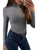 halpa Naisten yläosat-Naisten Poolokaulus Puuvilla T-paita, Yhtenäinen