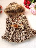 ieftine Palton Piele-Copil Fete Print Animal Leopard Manșon Lung Bumbac Căptușit Bumbac