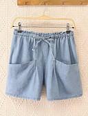 preiswerte Kleideruhr-Damen Freizeit Mittlere Hüfthöhe Mikro-elastisch Gerade Jeans Hose, Polyester Sommer Solide