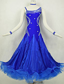 cheap Ballroom Dance Wear-Ballroom Dance Dresses Women's Performance Spandex / Organza Splicing / Crystals / Rhinestones Long Sleeve Natural Dress