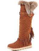 halpa Naisten yläosat-Naisten Kengät Turkis Syksy / Talvi Gladiaattori / Cowboy / bootsit / Talvisaappaat Bootsit Tasapohja Tupsuilla varten Puku / Juhlat