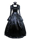 abordables Corsés-Medieval Victoriano Disfraz Mujer Vestidos Baile de Máscaras Ropa de Fiesta Negro Cosecha Cosplay Satín Manga Larga Poema Longitud Larga