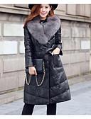 preiswerte Damen Schals-Damen Gefüttert Mantel Einfach Übergröße Lässig/Alltäglich Solide-Kunst-Pelz PU Polyester Langarm