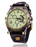 voordelige Herenhorloges-Heren Polshorloge Armbandhorloge Modieus horloge Kwarts Punk Leer Band Vintage Informeel Cool Bangle Zwart Wit Blauw Rood Orange Bruin