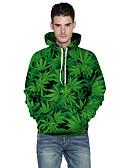 billige Hættetrøjer og sweatshirts til herrer-Herre Aktiv Plusstørrelser Bukser - 3D Print Grøn / Rund hals / Langærmet / Efterår / Vinter