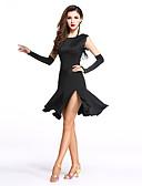 cheap Ballroom Dance Wear-Latin Dance Dresses Women's Performance Spandex / Milk Fiber Split Front / Tassel Sleeveless Natural Dress