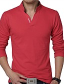 cheap Men's Polos-Men's Active Plus Size Cotton T-shirt - Solid Colored Stand / Long Sleeve
