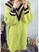 olcso Kabát & Viharkabát-Női Casual / hétköznapi Egyszínű Hosszú ujj Hosszú Pulóver, V-alakú Ősz / Tél Fehér / Zöld Egy méret