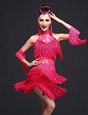 preiswerte Kleidung für Lateinamerikanischen Tanz-Latein-Tanz Kleider Damen Training Kunstseide / Elasthan Perlenstickerei / Spitze / Quaste Ärmellos Normal Kleid / Armbänder