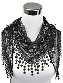 cheap Chic Chiffon Scarves-Women's Work Lace Rectangle - Floral Cut Out Tassel