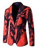 cheap Men's Blazers & Suits-Men's Plus Size Cotton Slim Blazer Print Notch Lapel