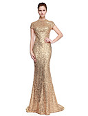 cheap Evening Dresses-Sheath / Column Jewel Neck Sweep / Brush Train Sequined Sparkle & Shine / Celebrity Style Formal Evening Dress with Sequin by TS Couture®
